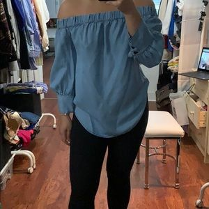 Chambray off-shoulder shirt